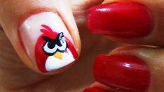 Angry Birds Oje Deseni – Nail Arts