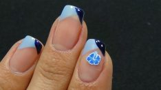 Çiçekli Mavi Lacivert Manikür Çeşidi – Nail Arts