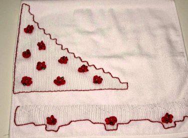 Havlu Kenarı Kırmızı Çiçekli Modeli – İğne Oyası