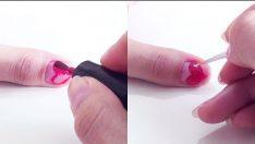 Kolay Kalp Oje Deseni – Nail Arts