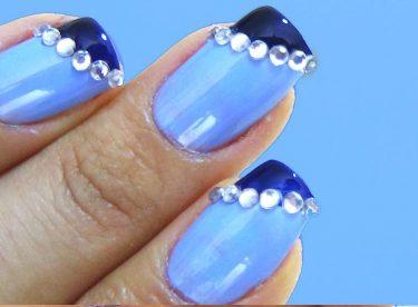 Mavi Taşlı Manikür Modeli – Nail Arts