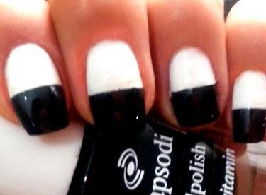 Siyah Beyaz Oje Deseni – Nail Arts