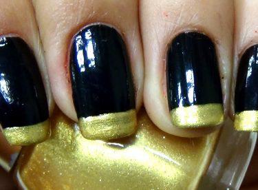 Siyah ve Altın Sarısı Fransız Manikürü – Nail Arts