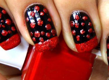 Siyah ve Simli Kırmızı Oje Deseni – Nail Arts
