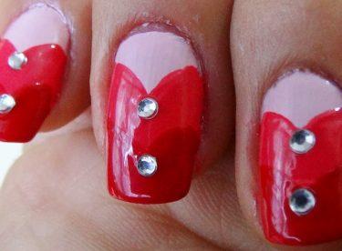Taşlı Kalpler Oje Deseni – Nail Arts