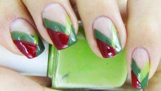 Yeşil Kırmızı Oje Deseni – Nail Arts
