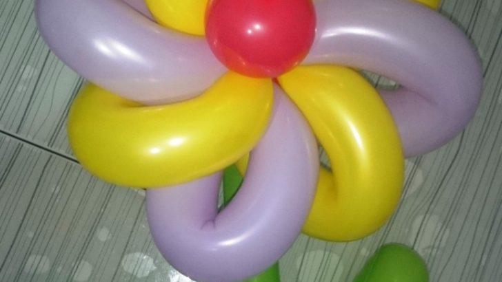 Sosis Balon ile Rüzgar Gülü Şeklinde Çiçek Yapımı