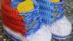 Örgü converse bebek patiği yapımı (resimli anlatımlı)