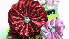 Benekli Saten Kurdeleden Çiçek Yapımı