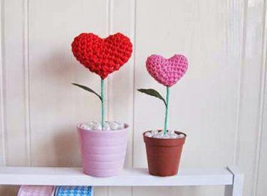 Örgü Tığ İşi Kalpli Çiçek Yapılışı (Videolu ve Resimli Tarifi)
