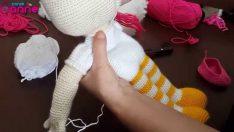 Şeker Kız Boyun Örülüşü ve Başın Gövdeye Eklenmesi Örgü Oyuncak Amigurumi