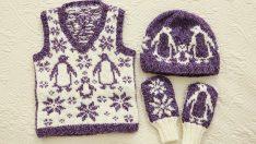 Örgü Kar ve Penguen Desenli Bebek Yelek, Şapka ve Eldiven Modeli