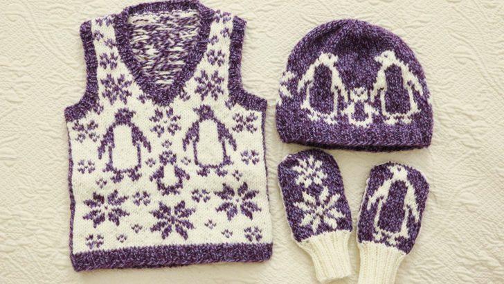 Örgü Penguen Motifli Bebek Yelek, Şapka ve Eldiven Modeli