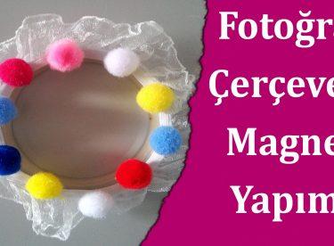 Kavanoz Kapağı Ile Fotoğraf çerçevesi Magnet Yapımı Canım Anne