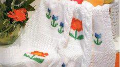 Değişik El Örgüsü Bebek Battaniyeleri