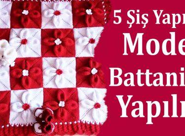 5 Şiş Yaprak Modeli Battaniye Nasıl Örülür