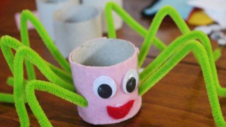 Tuvalet Kağıdı Rulosundan Örümcek Yapımı