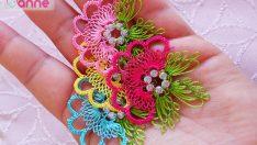 İğne Oyası Hürrem Boncuğu Üzerine Çiçek Yapımı