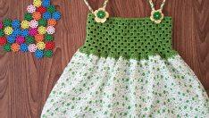 Kumaş Üzerine Yazlık Örgü Bebek Elbise Yapımı – Tığ İşi