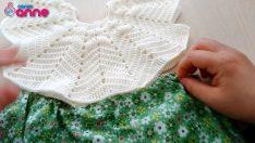 örgü çiçekli bebek elbise anlatımı