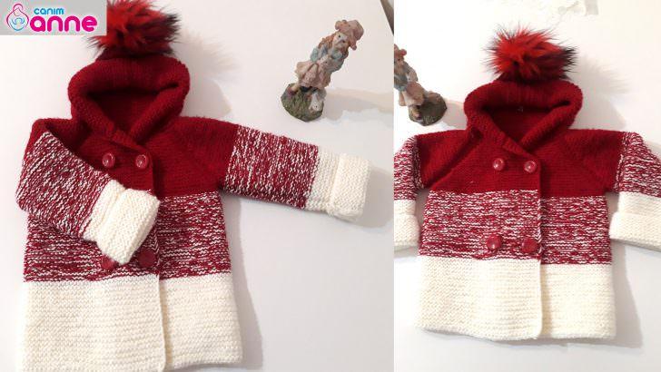 Degrade kapşonlu bebek hırkası yapımı – Renk geçişli hırka yapımı