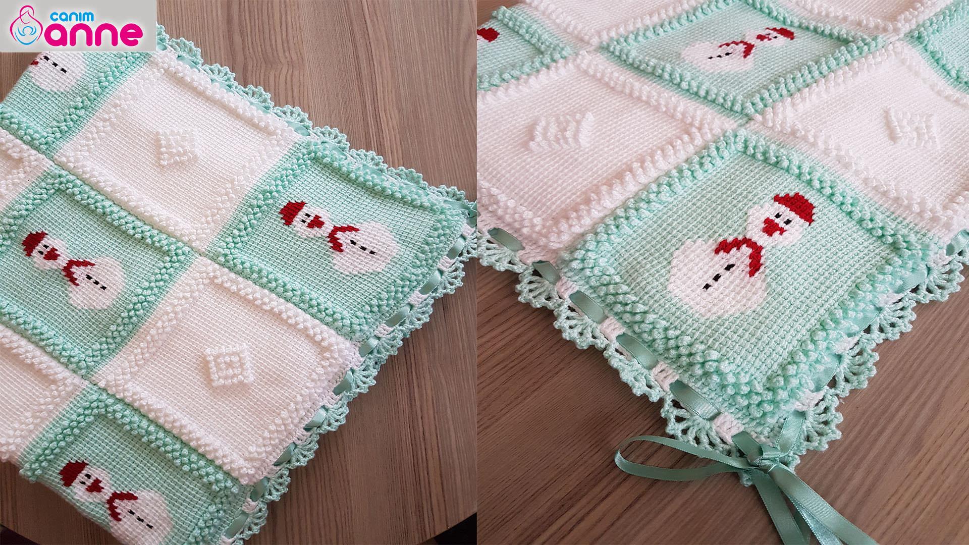 Tığ İşi Motifli Bebek Battaniyesi Yapılışı
