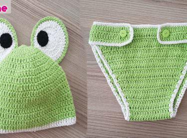 Örgü bebek kurbağa kostümü (bere ve kilot) yapımı
