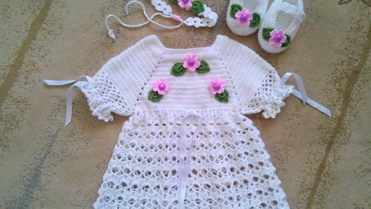 Tığ işi örgü bebek elbise takımı yapımı