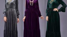 En Güzel Bayan Kadife Elbise Modelleri