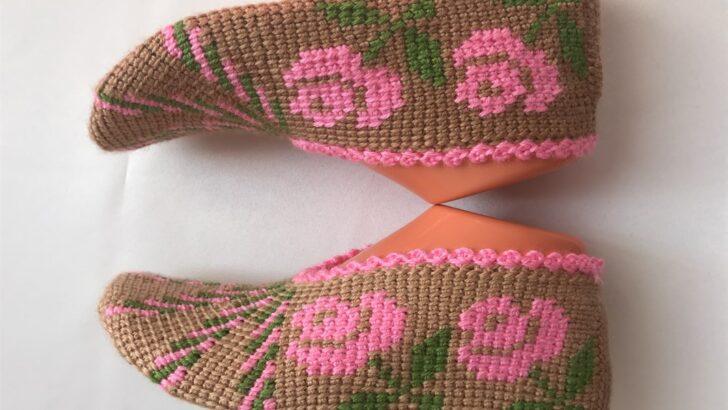Tunus işi gül motifli bayan patik yapımı