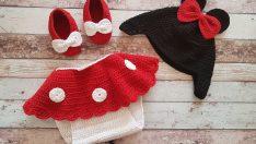 Minnie Mouse Kostüm (Bere, Patik, Elbise) Yapılışı