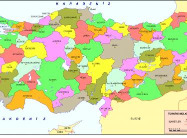 Türkiye Haritası Iller Yazılı şekilde Canım Anne