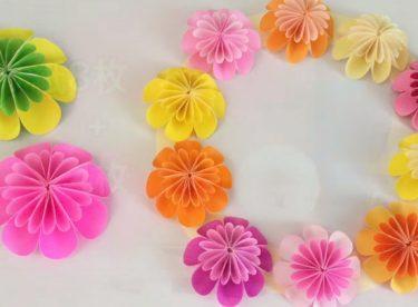 Origami Pon Pon Çiçek Yapımı