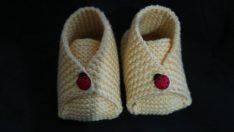 Kolay bebek patiği yapımı- Bohça şeklinde