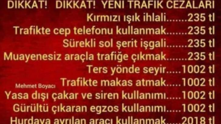 2019 Trafik Ceza Tutarları