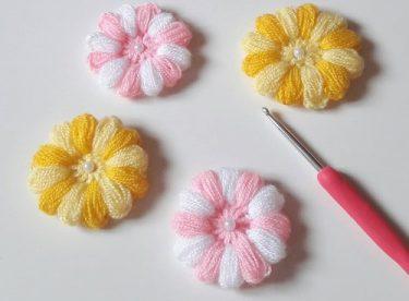 İki renkli puf çiçeği yapılışı