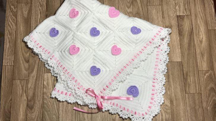 Kare motifli bebek battaniyesi yapılışı