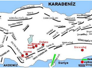 Türkiye Kıvrımlı Dağlar Haritası