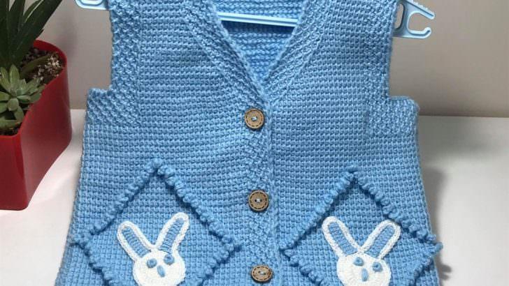 Tunus işi tavşan modeli bebek yeleği yapılışı
