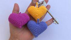 Amigurumi tığ işi kalp anahtarlık yapımı