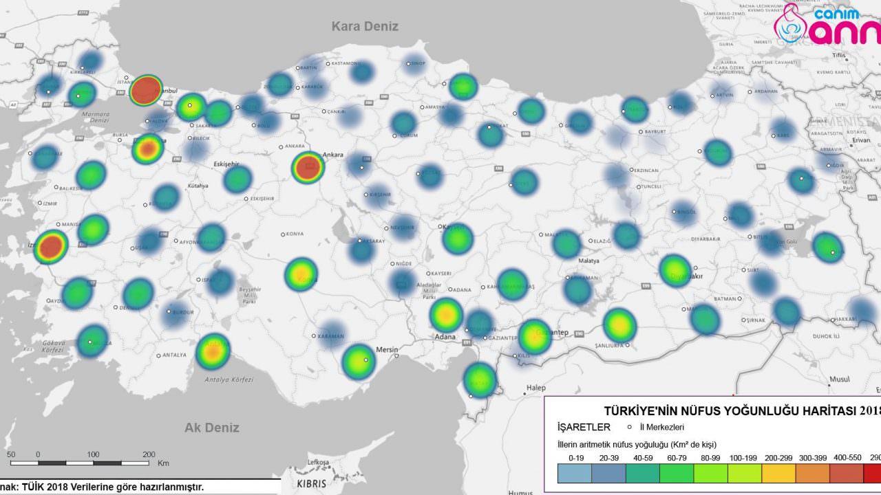 Türkiye Nüfus Yoğunluğu Haritası 2018