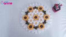 Çiçekli yuvarlak lif modeli yapımı