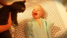 Kediyi Görünce İlginç Bir Şekilde Sevinen , Gülen Bebek
