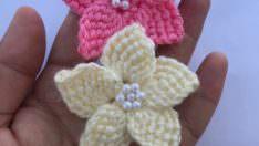 Tunus işi çiçek motif yapımı