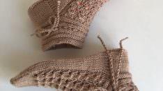 Beş şiş örgü çorap yapımı