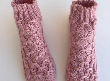 Kuşak modeli beş şiş çorap yapımı