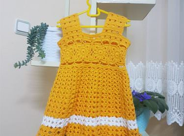 Tığ işi bebek elbisesi yapılışı