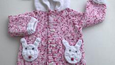 Tavşanlı bebek hırkası yapılışı