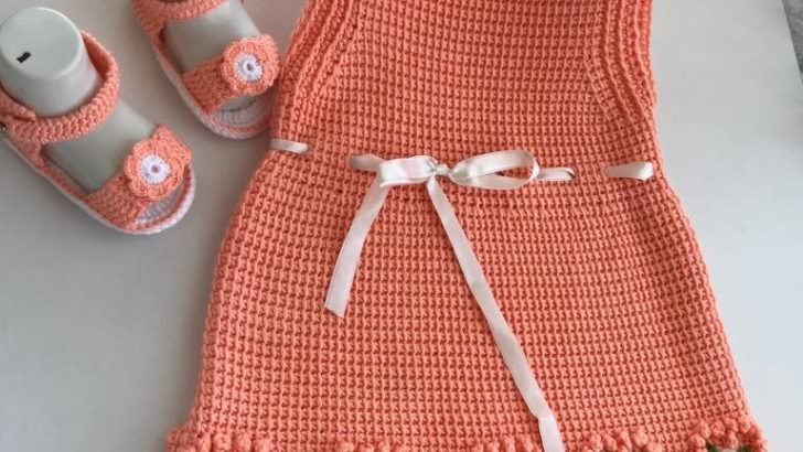 Örgü bebek elbise modeli yapılışı