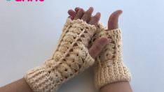 Tığ işi parmaksız eldiven yapılışı